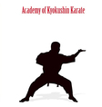 Silhouette of the man of engaged karate on a white vector image vector image