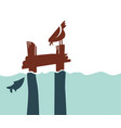simple retro-style pier with bird and fish vector image