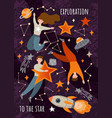 space exploration poster design vector image
