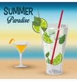 summer paradise cocktails beach sunset vector image