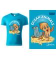t-shirt design with ocean animals vector image