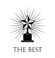 trophy star award in beams vector image vector image