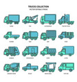 truck icons set in thin line style vector image