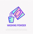 washing powder thin line icon laundry powder pour vector image
