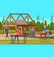 wooden robuilders professional carpenters team vector image vector image