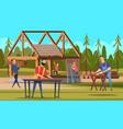 wooden roof builders professional carpenters team vector image