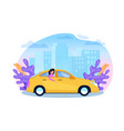 yellow cab service woman tourist in sedan cartoon vector image vector image