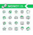 set of bank and money line icons coin vector image