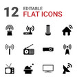 12 antenna icons vector image vector image