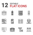12 remote icons vector image vector image
