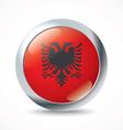 Albania flag button vector image vector image