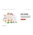 art studio landing page vector image vector image