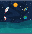 astronaut planets and stars rocket ship in space vector image
