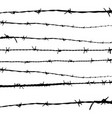 barbed wire silhouettes on white vector image