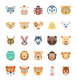 Birds and Animals Faces-3 vector image vector image