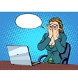 Businesswoman with laptop bad news vector image vector image