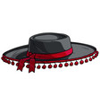 cartoon black toreador or matador hat icon vector image vector image