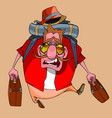 cartoon funny man walks with suitcases and a vector image vector image