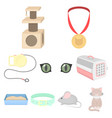 cat equipment set icons in cartoon style big vector image vector image