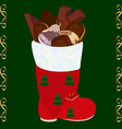 Christmas boots with set of candies and cookies vector image vector image