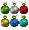 colorful christmas balls with snowflakes hanging vector image vector image