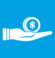 dollar in hand icon white vector image vector image