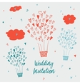 draw by hand wedding postcards vector image vector image