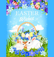 easter bunnies with egg basket and spring flowers vector image vector image
