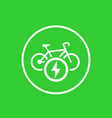 electric bike icon charging station mark vector image vector image