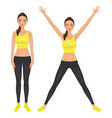 fit girl with hands up young woman in leggings vector image vector image
