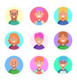 flat design icons collection of people avatars vector image