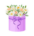 floral arrangement with camomile in box vector image vector image