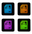 glowing neon resume icon isolated on white vector image vector image