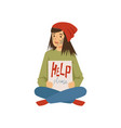 homeless young woman character sitting on the vector image vector image