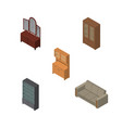 isometric furnishing set of couch cabinet drawer vector image vector image