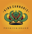 king cannabis logo weed shop and company vector image vector image