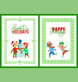 merry christmas happy holidays framed posters vector image vector image