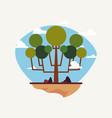 natural trees sky nature landscape vector image