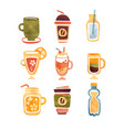 non alcoholic drinks tea coffee hot chocolate vector image