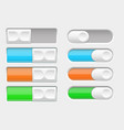 on and off colored slider buttons vector image vector image