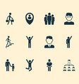 people icons set with climbing stairs pupil vector image vector image
