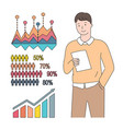 people statistic with percent rising chart vector image vector image