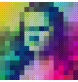 pixel art style mona lisa colorful portrait vector image