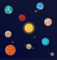 planets solar system with stars icon set vector image
