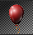 realistic dark red balloon with ribbon isolated vector image