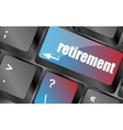 retirement for investment concept with a button on vector image vector image