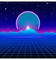 Retro styled futuristic landscape with neon arc vector image vector image