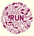 run faster lettering poster running shoes vector image
