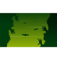 scary zombie landscape on halloween day vector image vector image