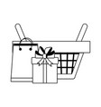 Shopping basket with gift box and bag in black and